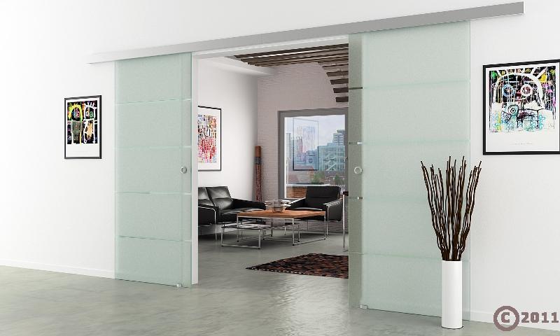 doppel glasschiebet r 2x775x2050mm 2 fl gelig waagerecht gestreift komplett ebay. Black Bedroom Furniture Sets. Home Design Ideas