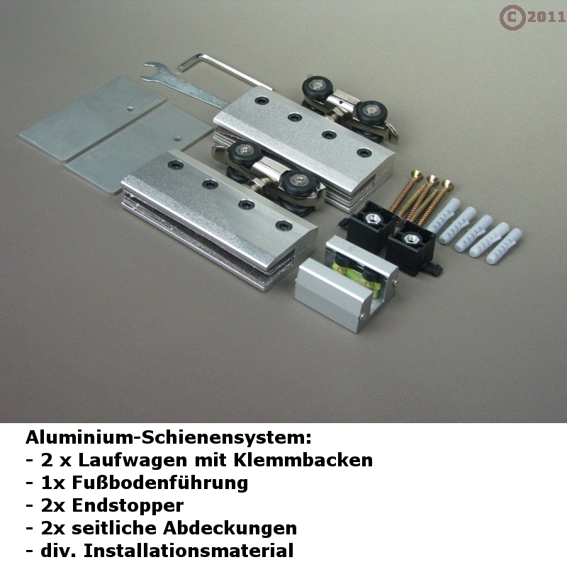 Schiebetür schienensystem  Glasschiebetürsystem Alu-Schienensystem, Beschlag für Glas ...